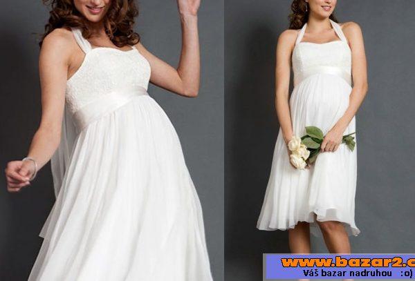 bc502b28bfc4 Prodám bílé těhotenské šaty a sáčko. Jedná se o šaty délky ke kolenům