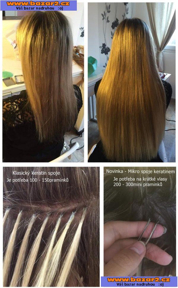 prodloužení vlasů keratinem cena