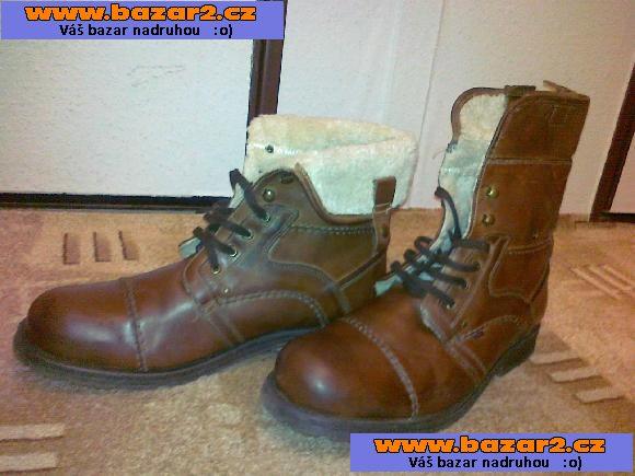 b1dab2fdf8be Celokožené značkové boty s kožíškem