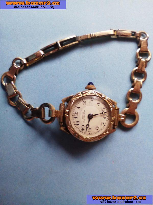 61e91a8a4 Prodám dámské hodinky náramkoé ze žlutého kovu korunka zdobená modrým  kamenem, a zdobené kapesní hodinky výrobce Mareš Budeweis