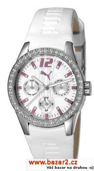 Dámské hodinky PUMA model PU101972001 Tire Ladies Multifunction White with  stones jsou bílé barvy. Pouzdro vyrobeno z oceli 419c6e80c9b